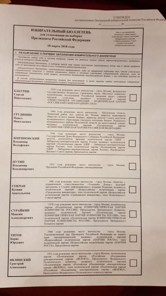 избирательный бюллетень фото