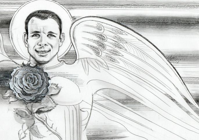 Гагарин — это красный ангел. Он улетел в небо человеком, а вернулся ангелом. Он — голубь, которого Ной выпустил со своего ковчега среди бушующего потопа.