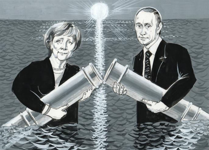 `Северный поток` состоялся. Ангела Меркель и Владимир Путин по морю, яко посуху, приблизились друг к другу и протянули стальные трубы, которые сошлись и лязгнули. Так лязгают железные рукопожатия, так грохочут стальные объятия, в которые заключили друг друга Германия и Россия.
